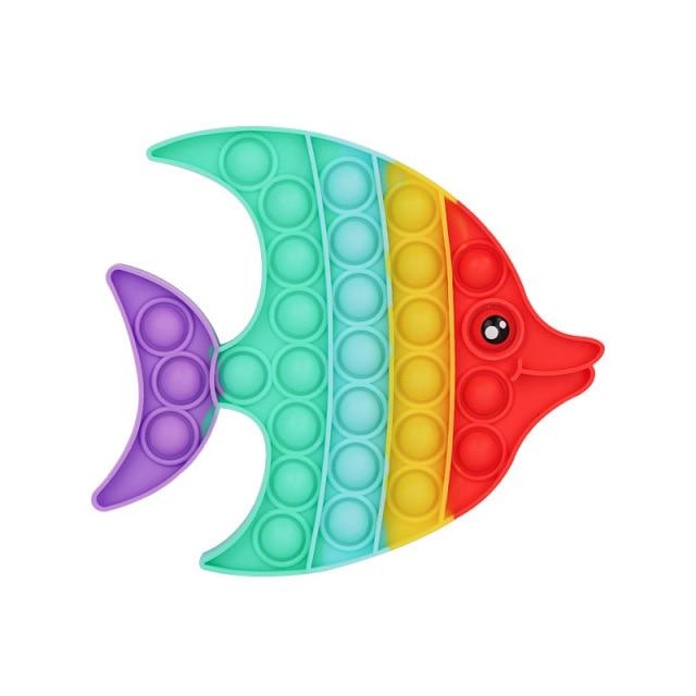 Rainbow Fish Pop It Fidget Simple Dimple Anti Stress Toy
