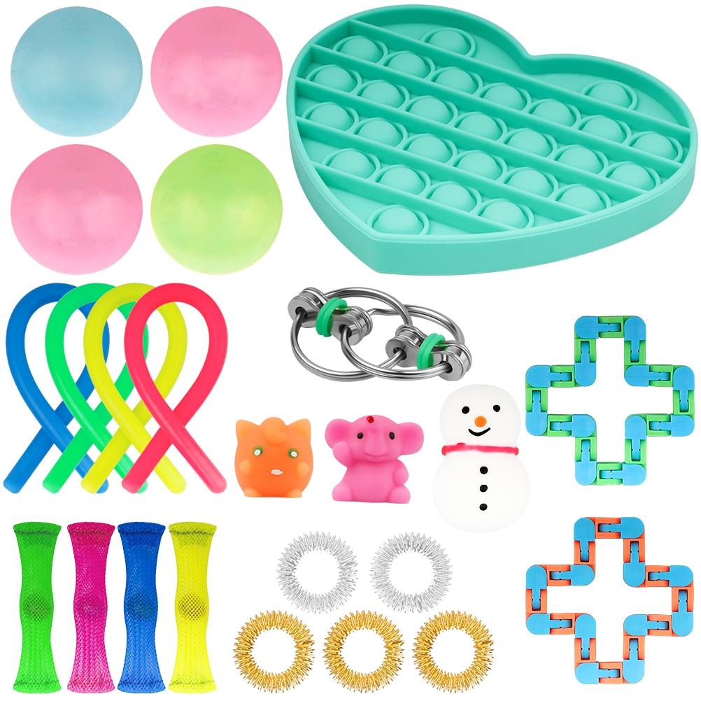 24 Pack Fidget Sensory Toy Set Stress Relief Toys Autism Anxiety Relief Stress Pop Bubble Fidget - Simple Dimple Fidget