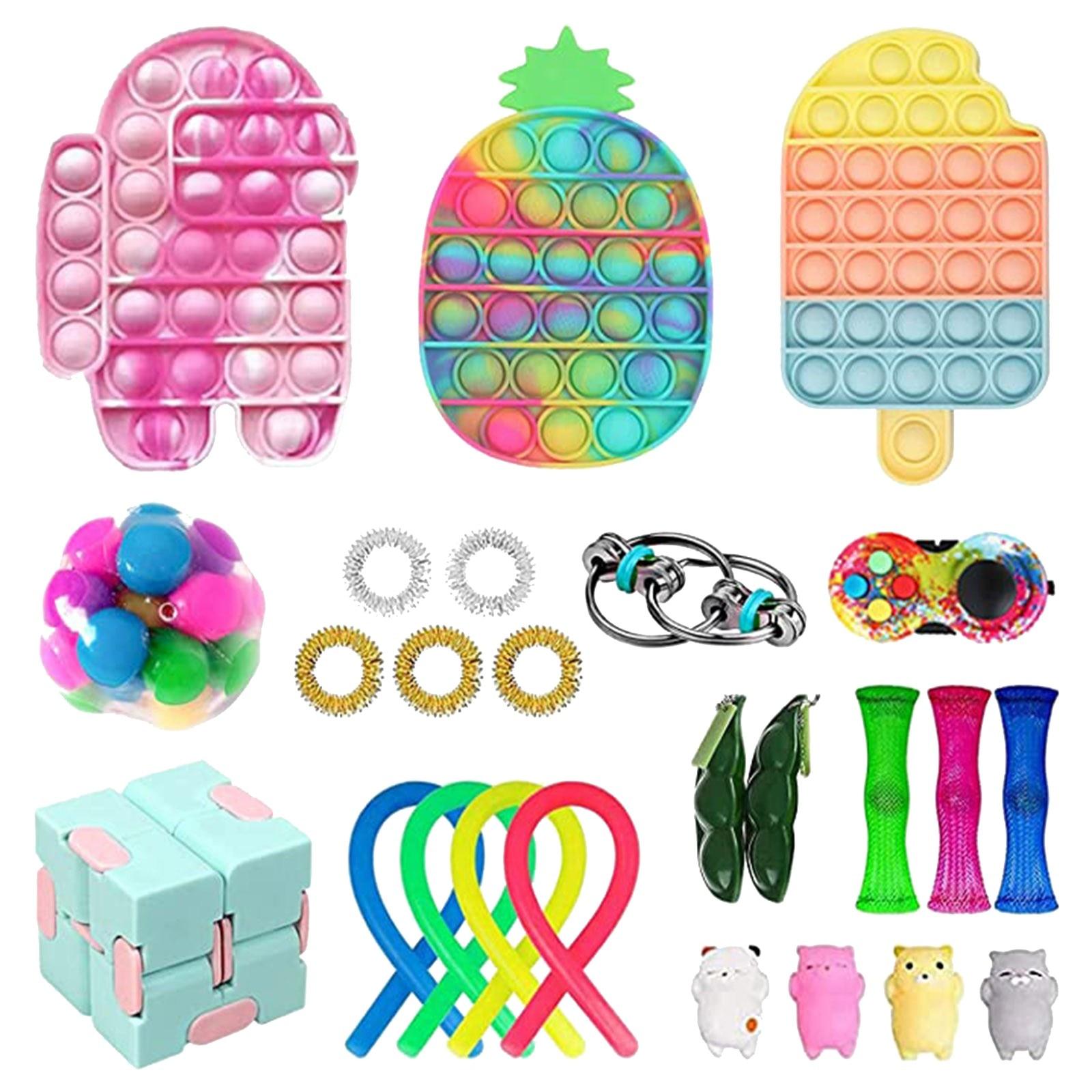 30Pack Fidget Toys Anti Stress Set Stretchy Strings Push Gift Pack Adults Children Squishy Sensory Antistress - Simple Dimple Fidget