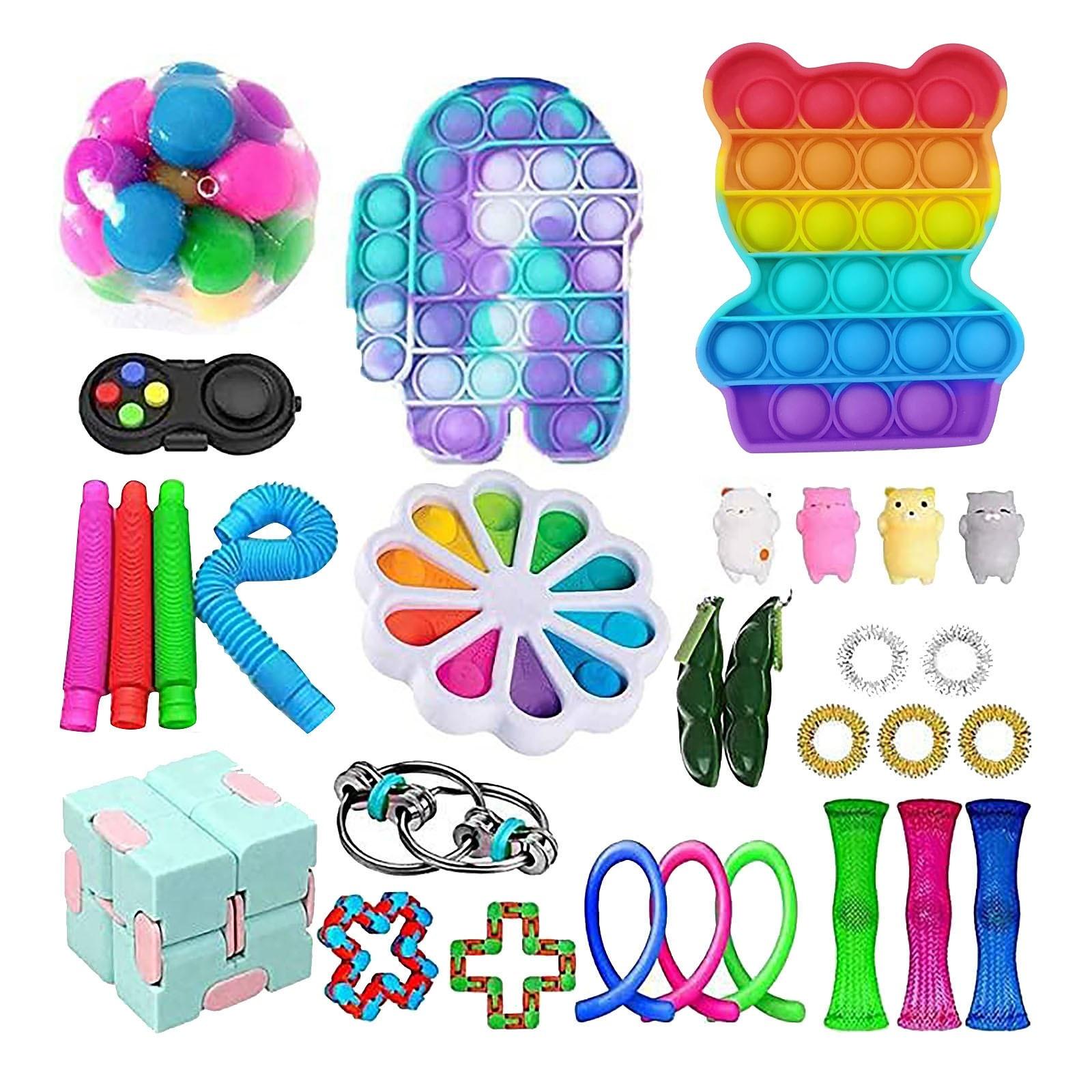 37PC Cheap Fidget Toys Anti Stress Set Strings Relief Pack Gift for Adults Children Figet Sensory - Simple Dimple Fidget