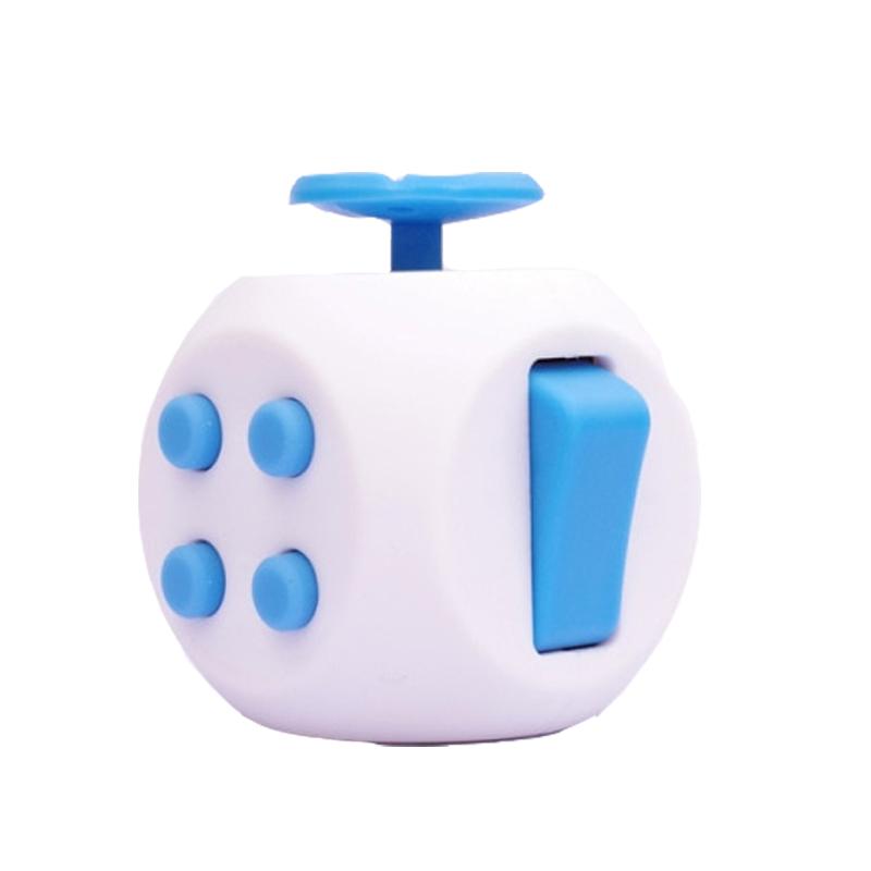 White Blue 6 Sides Cube Fidget Anti Stress Toy - Simple Dimple Fidget